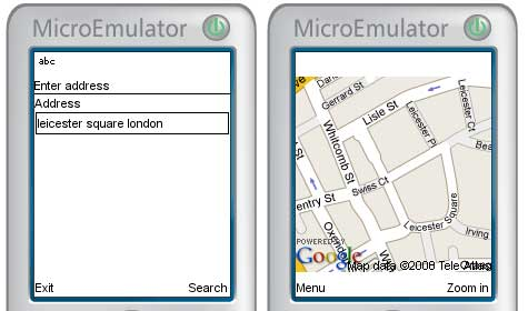 Google Maps sample application screenshot