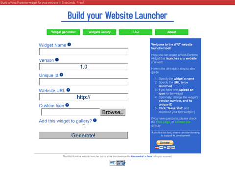 Mobilise your website: website screenshot